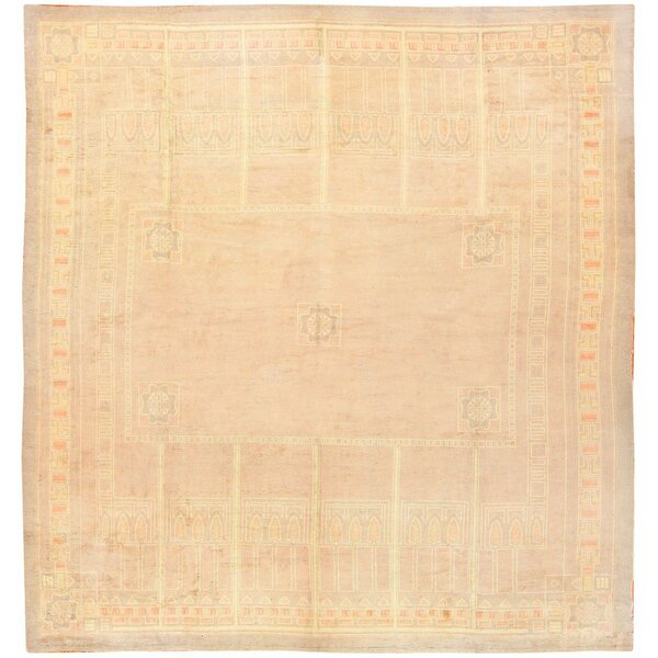 One-of-a-Kind French Hand-Knotted 1920s French Tan 13'7 x 14'2 Wool Area Rug
