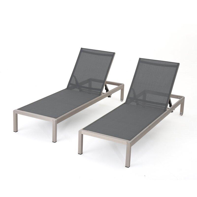 Chaiselongue Modern lacon modern outdoor mesh chaise lounge reviews joss