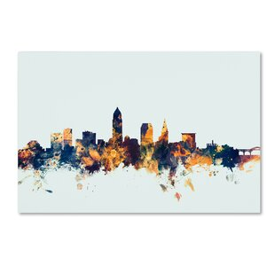 Cleveland Ohio Skyline Blue Graphic Art on Wrapped Canvas by Latitude Run