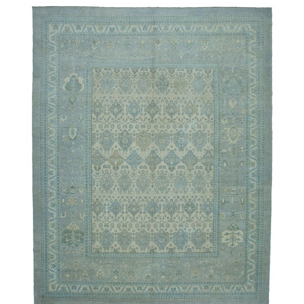 One-of-a-Kind Golbahar Hand-Knotted 1960s Turkish Blue 13' x 16' Area Rug