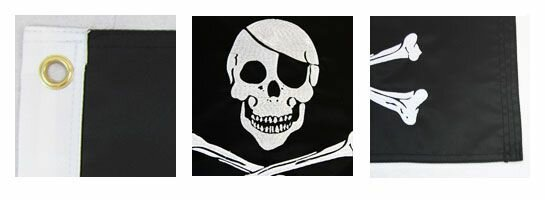 Pirate Grommeted Embroidered Polyester 1x1.5 ft Rectangle Flag by Flags Importer
