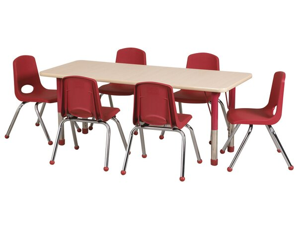 7 Piece 72 x 24 Rectangular Classroom Table and 12 Chair Set by ECR4kids