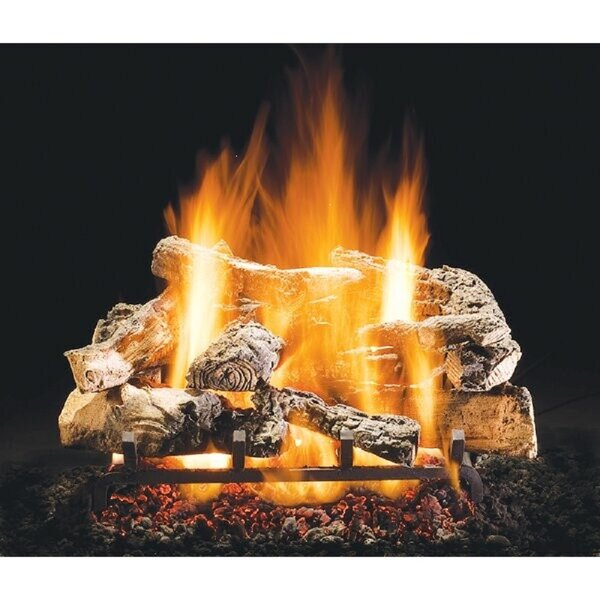 Rustic Timber Vented Natural Gas/Propane Fireplace Log Set By HargroveGasLogs