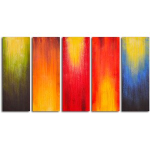 Paintbrush Panels of Color 5 Piece Painting on Wrapped Canvas Set by My Art Outlet