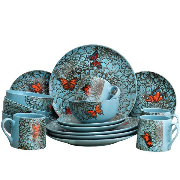 Wicker Park Butterfly Garden 16 Piece Dinnerware Set, Service for 4 by Winston Porter