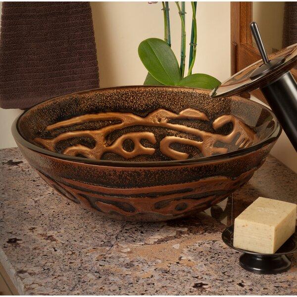 Mosaico Glass Circular Vessel Bathroom Sink by Novatto