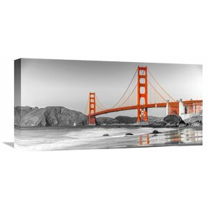 Golden Gate Bridge, San Francisco Photographic Print on Wrapped Canvas in Orange by Global Gallery