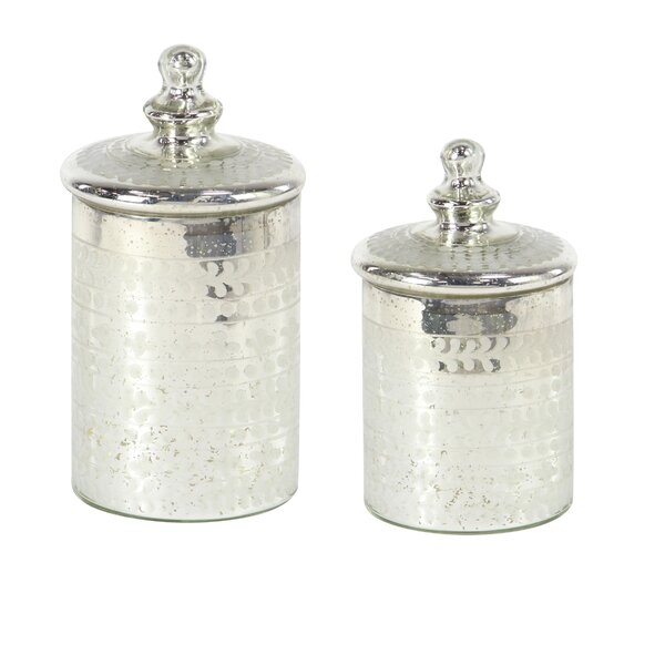 Traditional Cylindrical Glass 2 Piece Kitchen Canister Set by House of Hampton