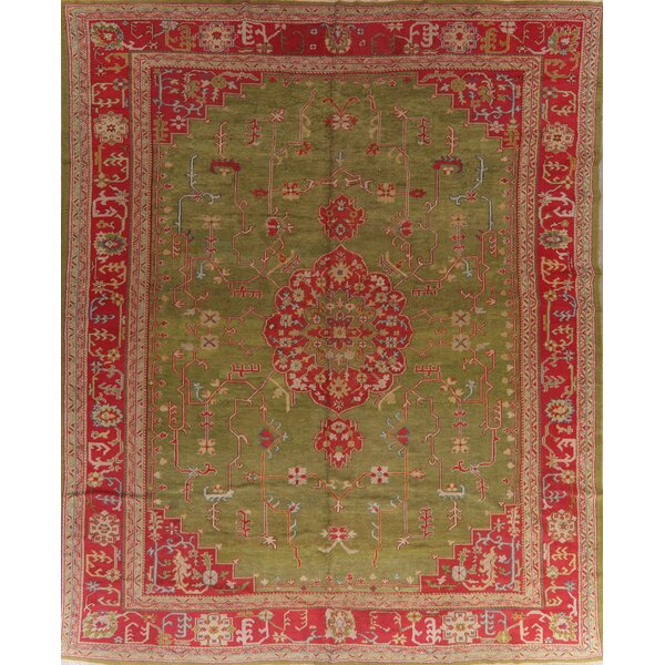 One-of-a-Kind Sumru Hand-Knotted Before 1900 Oushak Green/Red 12'8 x 15'10 Wool Area Rug