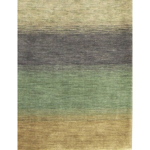 Gabbeh Hand-Knotted Wool Green/Yellow Area Rug by Bokara Rug Co., Inc.