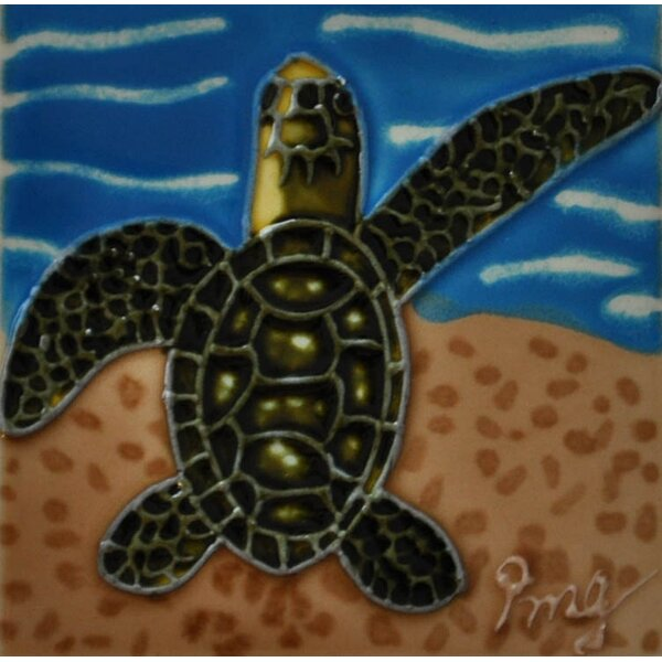 Sea Turtle Tile Magnet by Continental Art Center