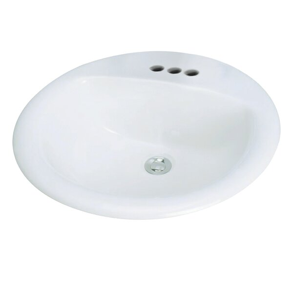 Preston Vitreous China Oval Drop-In Bathroom Sink with Overflow by Transolid