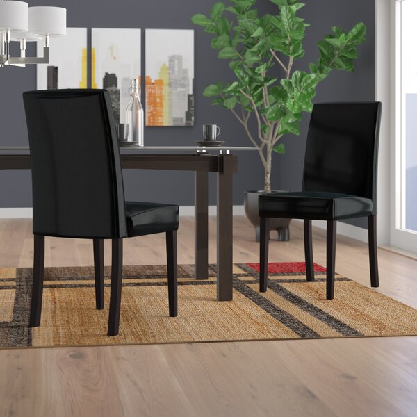 Mercado Genuine Leather Upholstered Dining Chair (Set of 2) by Latitude Run