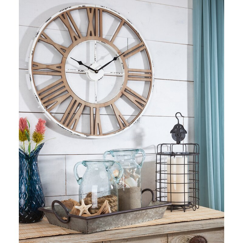 "Brown Oversized Snelling 24"" Wall Clock by Breakwater Bay"
