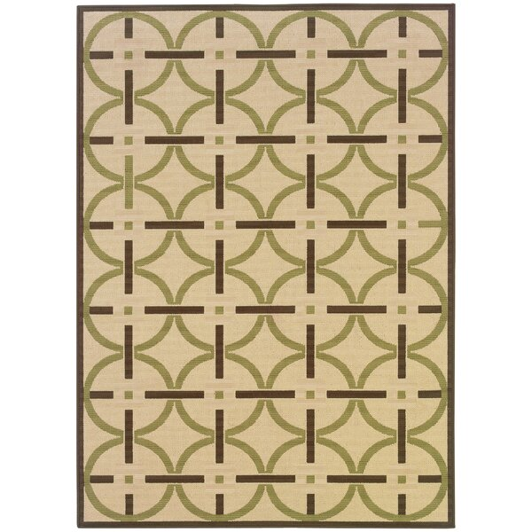 Ceasar Ivory/Brown Indoor/Outdoor Area Rug by Winston Porter
