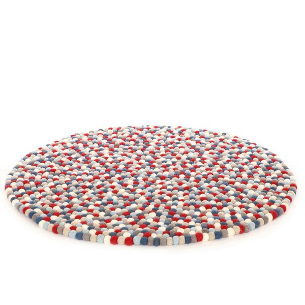 Happy as Larry Firecracker Felt Ball Kids Rug by Walk On Me