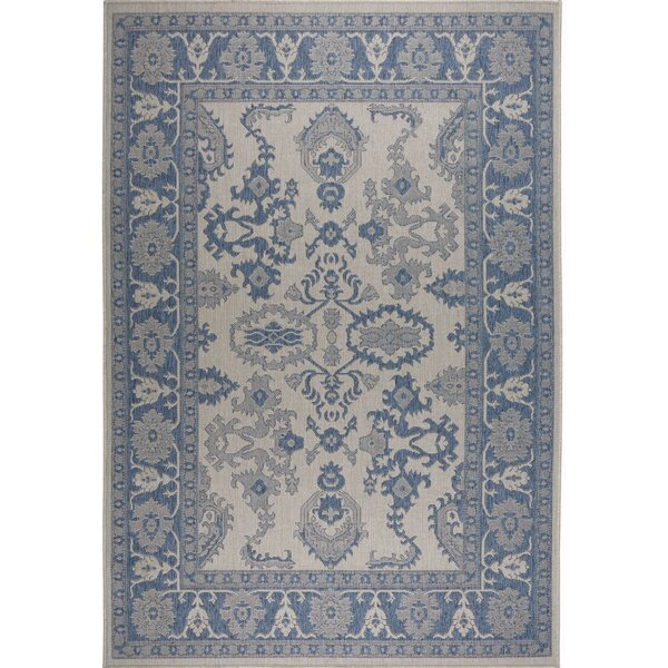 Bordered Gray/Blue Indoor/Outdoor Area Rug by Nicole Miller