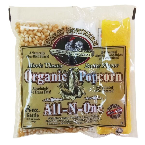 8 oz. Organic Movie Theater Popcorn Portion Pack (Set of 18) by Great Northern Popcorn
