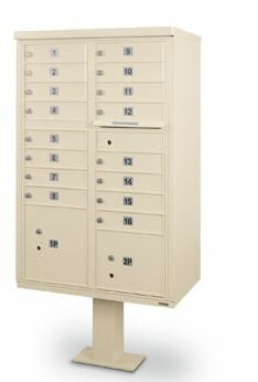 CBU 16 Door Front Load 4C Horizontal Cluster Box Unit with 1 Parcel Locker by Postal Products Unlimited, Inc.