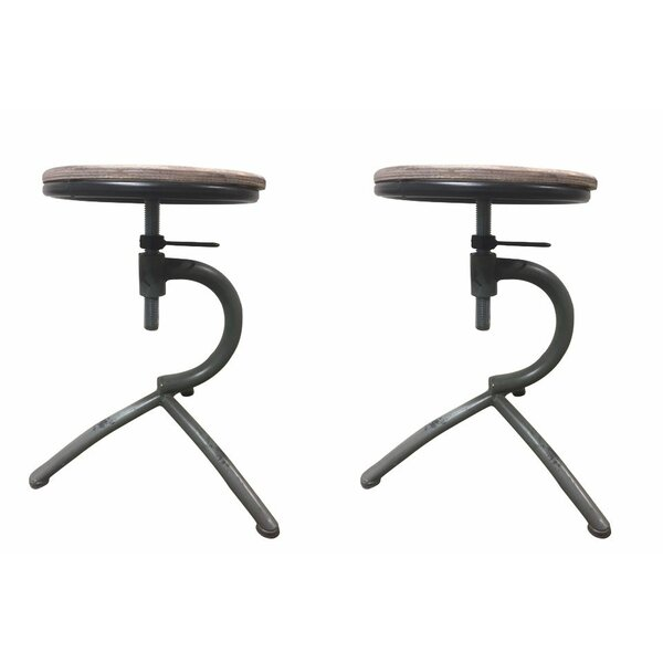 Campas Adjustable Height Swivel Bar Stool (Set of 2) by Williston Forge