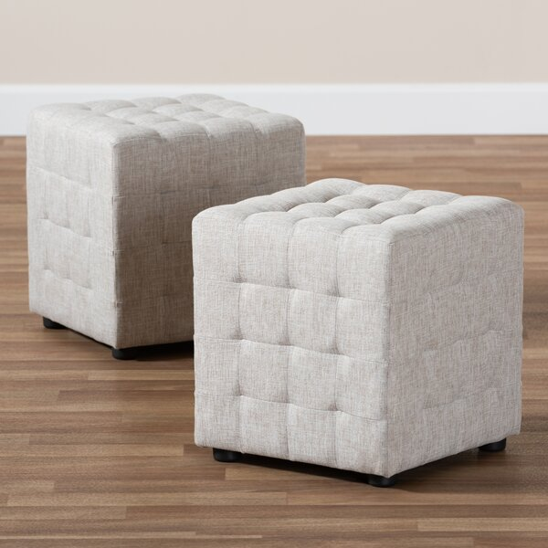Cantrell Modern and Contemporary Tufted Cube Ottoman (Set of 2) by Charlton Home