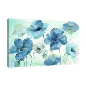 'Blue and Indigo Poppies' Watercolor Painting Print on Wrapped Canvas by Winston Porter