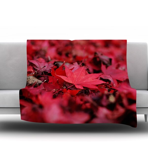 Red Leaves by Angie Turner Fleece Throw Blanket by East Urban Home