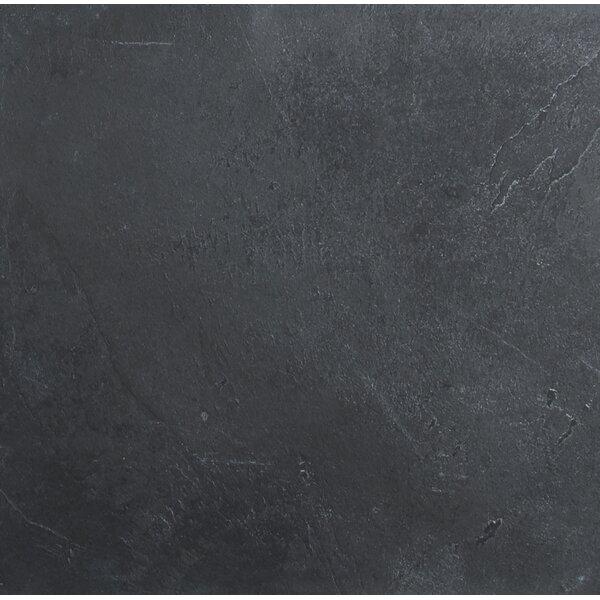 Montauk 12'' x 12'' Slate Field Tile in Black/Gray