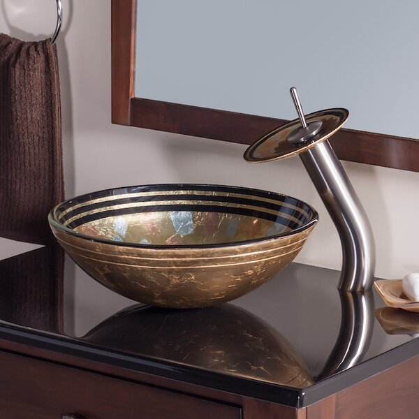Celebrazione Glass Circular Vessel Bathroom Sink with Faucet by Novatto