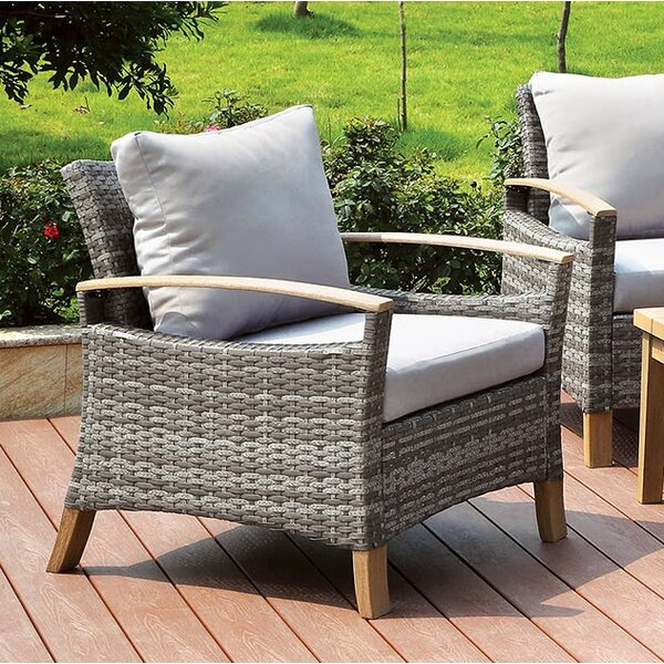 Piute Patio Chair with Cushion (Set of 2) by Bungalow Rose