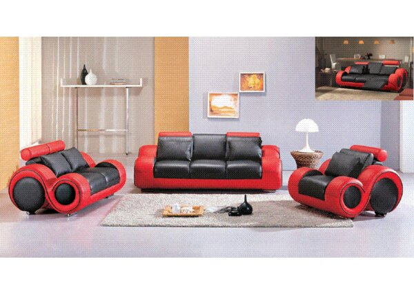 Hematite Reclining Leather Configurable Living Room Set by Hokku Designs