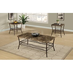 Canisteo Faux Marble Top 3 Piece Coffee Table Set Fleur De Lis Living Savings