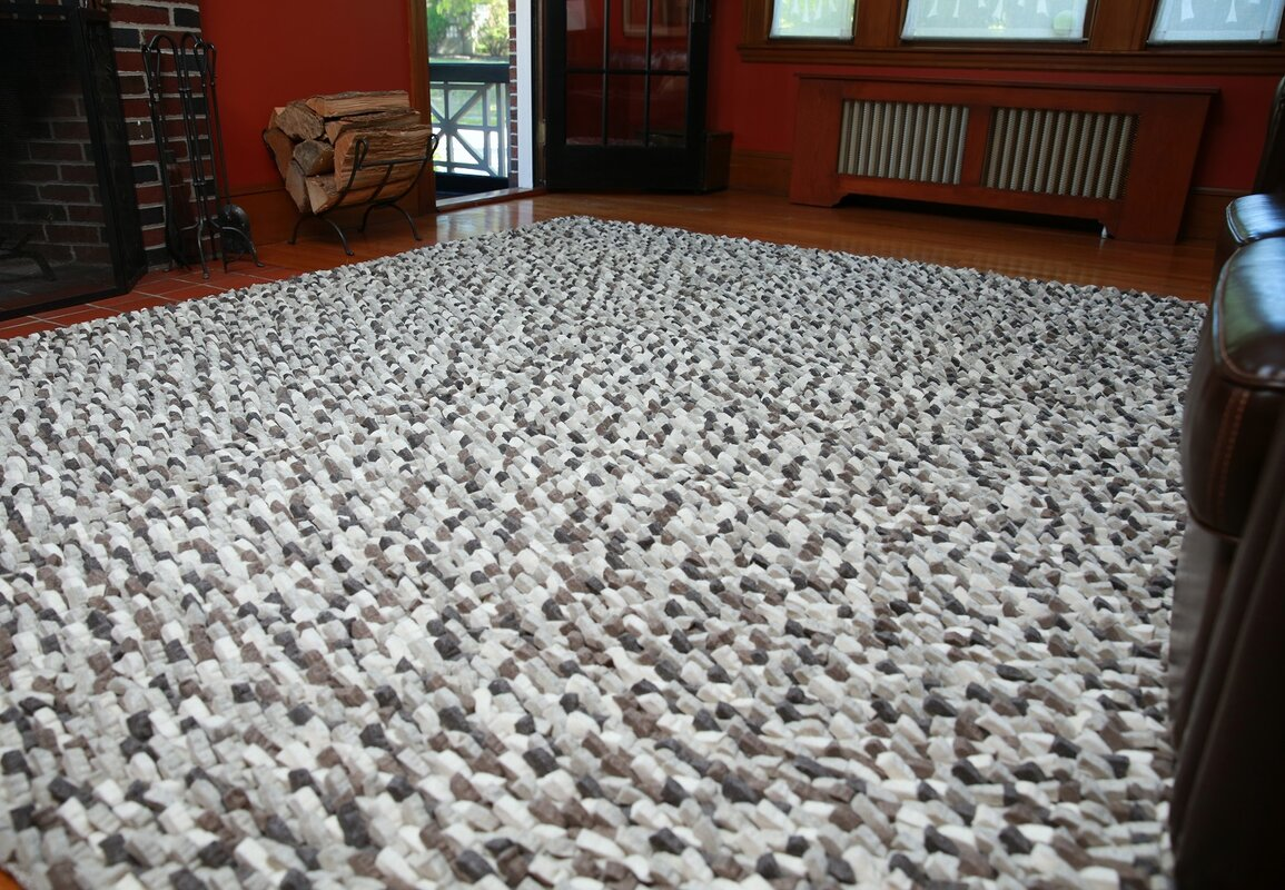 Wool Felt Hand Tufted Gray White Area Rug