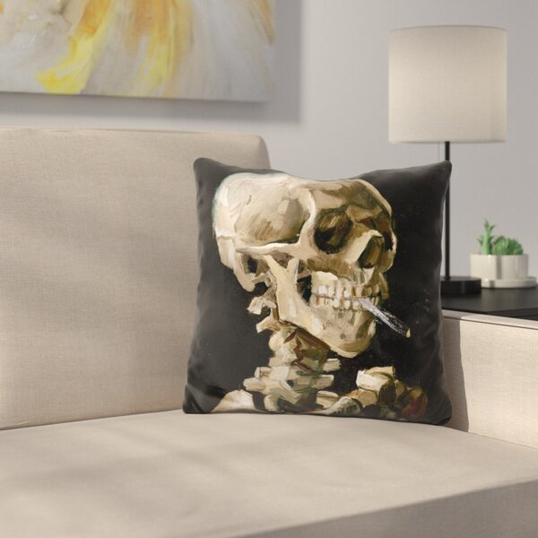 Skul of A Skeleton Throw Pillow by East Urban Home
