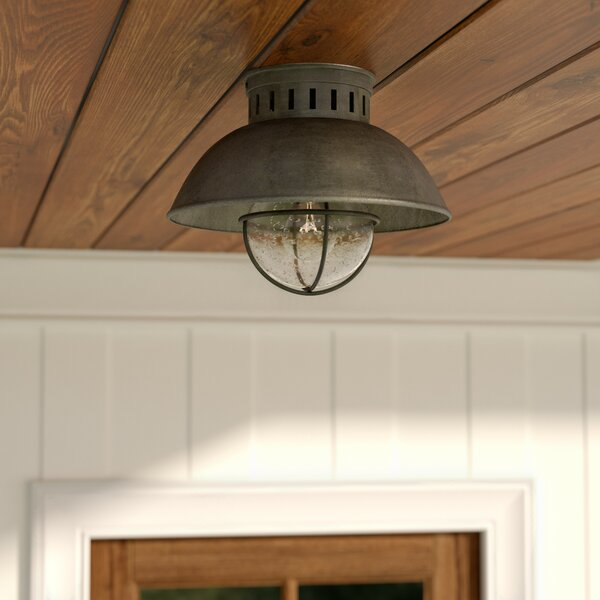 Archibald 1-Light Outdoor Semi Flush Mount by Beachcrest Home