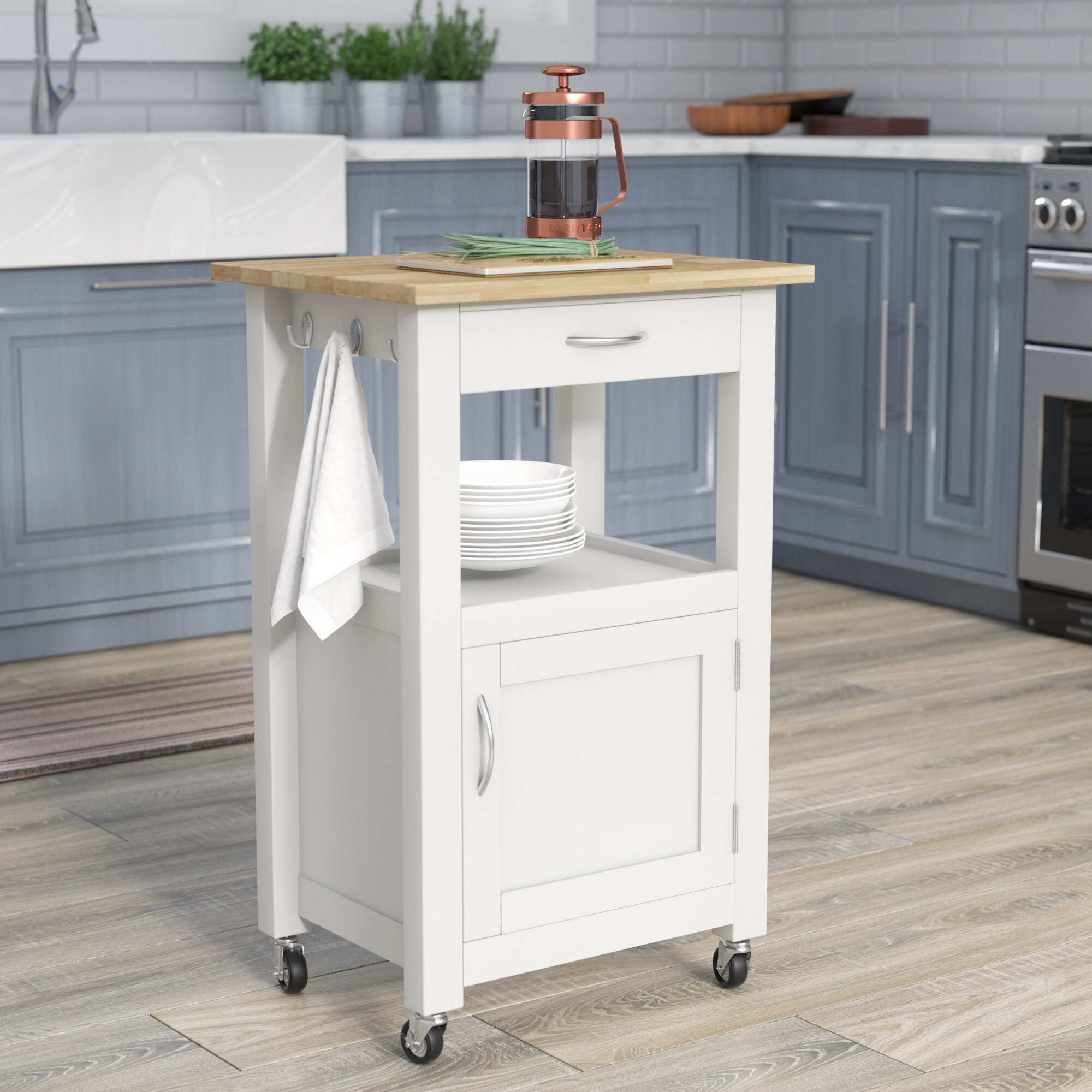 Charlton Home Jordan Kitchen Island Cart with Natural Wood Top ...