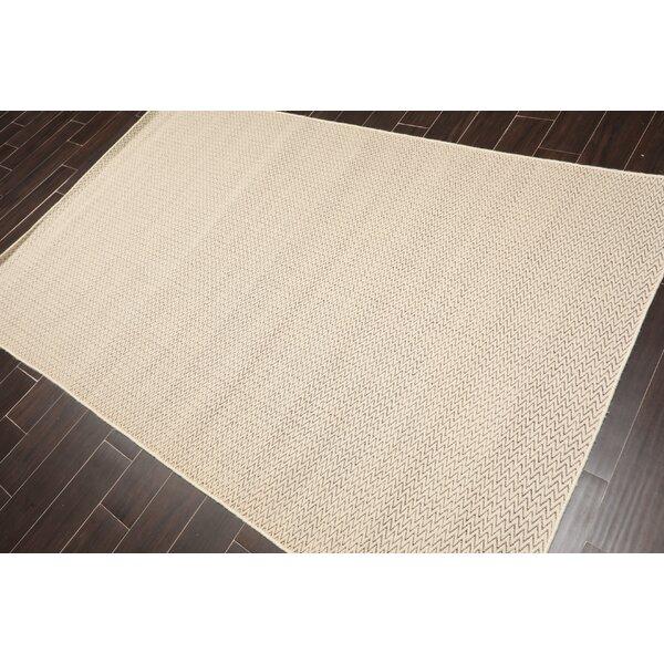 Jhirayr Chevron Handmade Tufted Wool Beige Area Rug