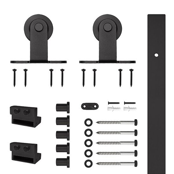 Mount Rolling Barn Door Hardware Set with Flat Rail by Custom Service Hardware