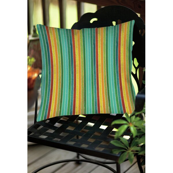 Aqua Bloom Stripes Indoor/Outdoor Throw Pillow by Manual Woodworkers & Weavers