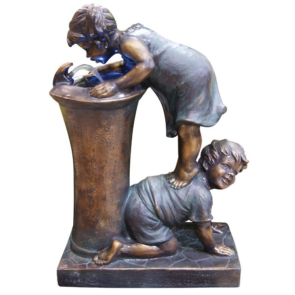 Fiberglass and Resin Boy and Girl Drinking Fountain with LED Light by Woodland Imports