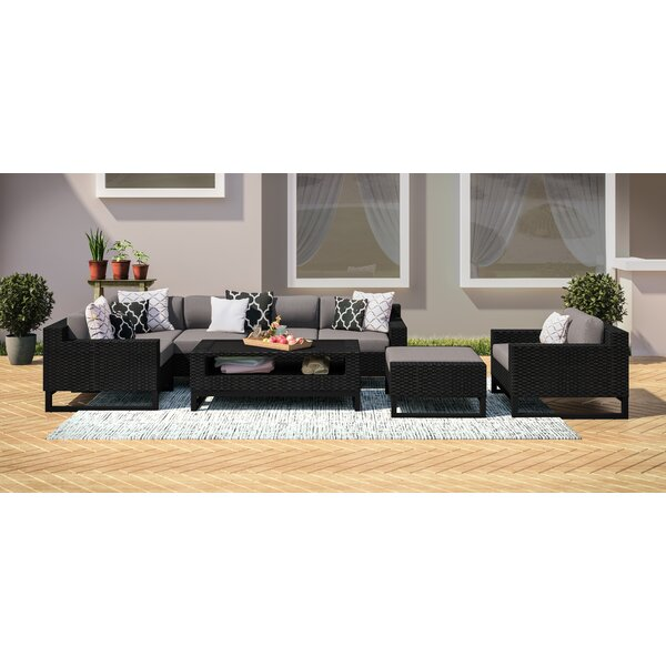 Stivers 8 Piece Rattan Sectional Seating Group with Cushions by Ebern Designs