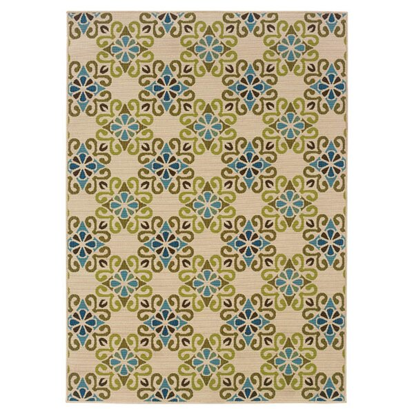 Newfield Ivory/Blue Indoor/Outdoor Area Rug by Threadbind