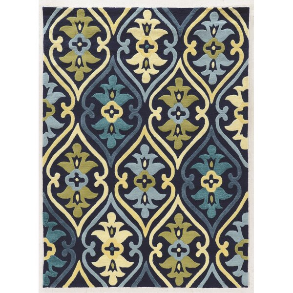 Savanah Damask Hand-Tufted Blue/Green Area Rug by Winston Porter