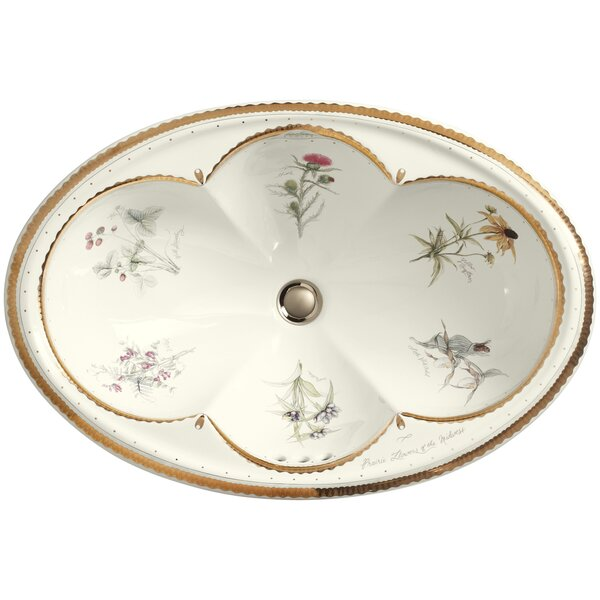 Prairie Flowers Ceramic Oval Drop-In Bathroom Sink by Kohler