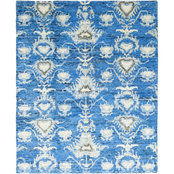 One-of-a-Kind Ebaugh Hand-Knotted Wool Blue Indoor Area Rug by Bungalow Rose