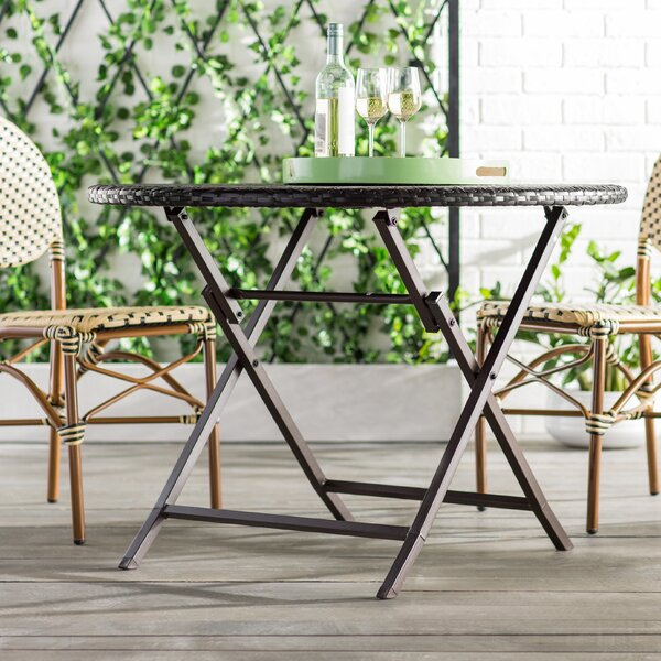 Belton Outdoor Wicker Dining Table by Mercury Row