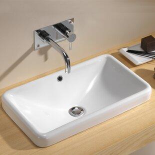 Price comparison Traffic Rectangular Vessel Bathroom Sink with Overflow By Bissonnet