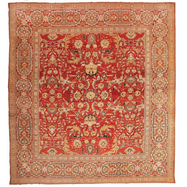 One-of-a-Kind Indian Hand-Knotted Before 1900 Agra Ivory 18' x 19' Wool Area Rug