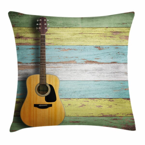 Music Decor Acoustic Guitar Square Pillow Cover by East Urban Home