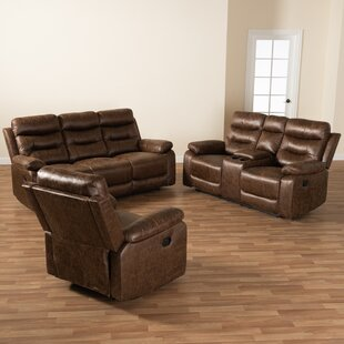 Latitude Run® Studio Beasely Modern And Contemporary Distressed Brown Faux Leather Upholstered 3-Piece Living Room Set (Set of 3) by Latitude Run®